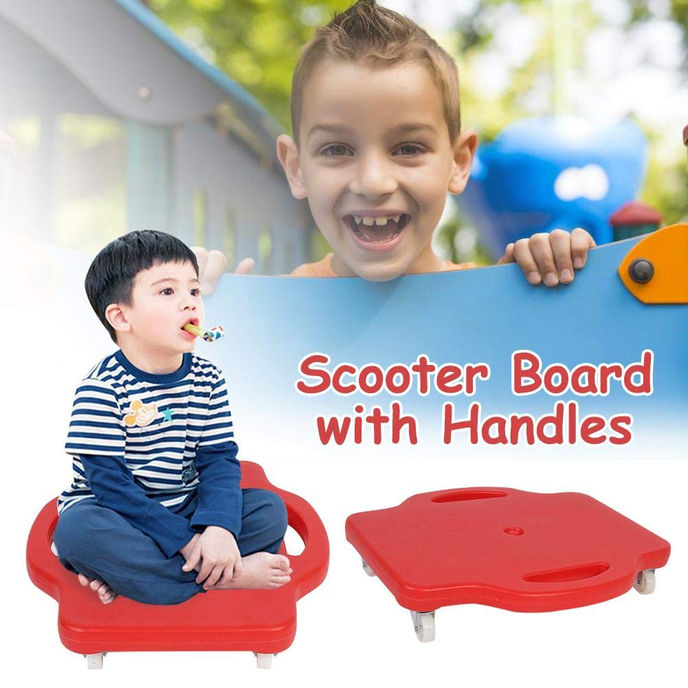 Scooter Board,Children's Safety Plastic Scooter Board Handled Scooter Seat with Swivel Casters for Children,4240cm,Red by CatcherMy