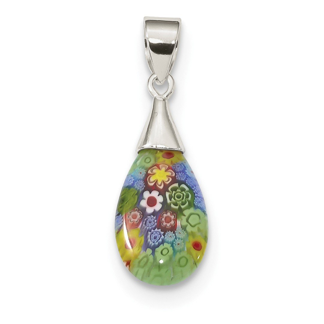 ICE CARATS 925 Sterling Silver Multicolored Glass Teardrop Pendant Charm Necklace Flower Gardening Fine Jewelry Ideal Gifts For Women Gift Set From Heart