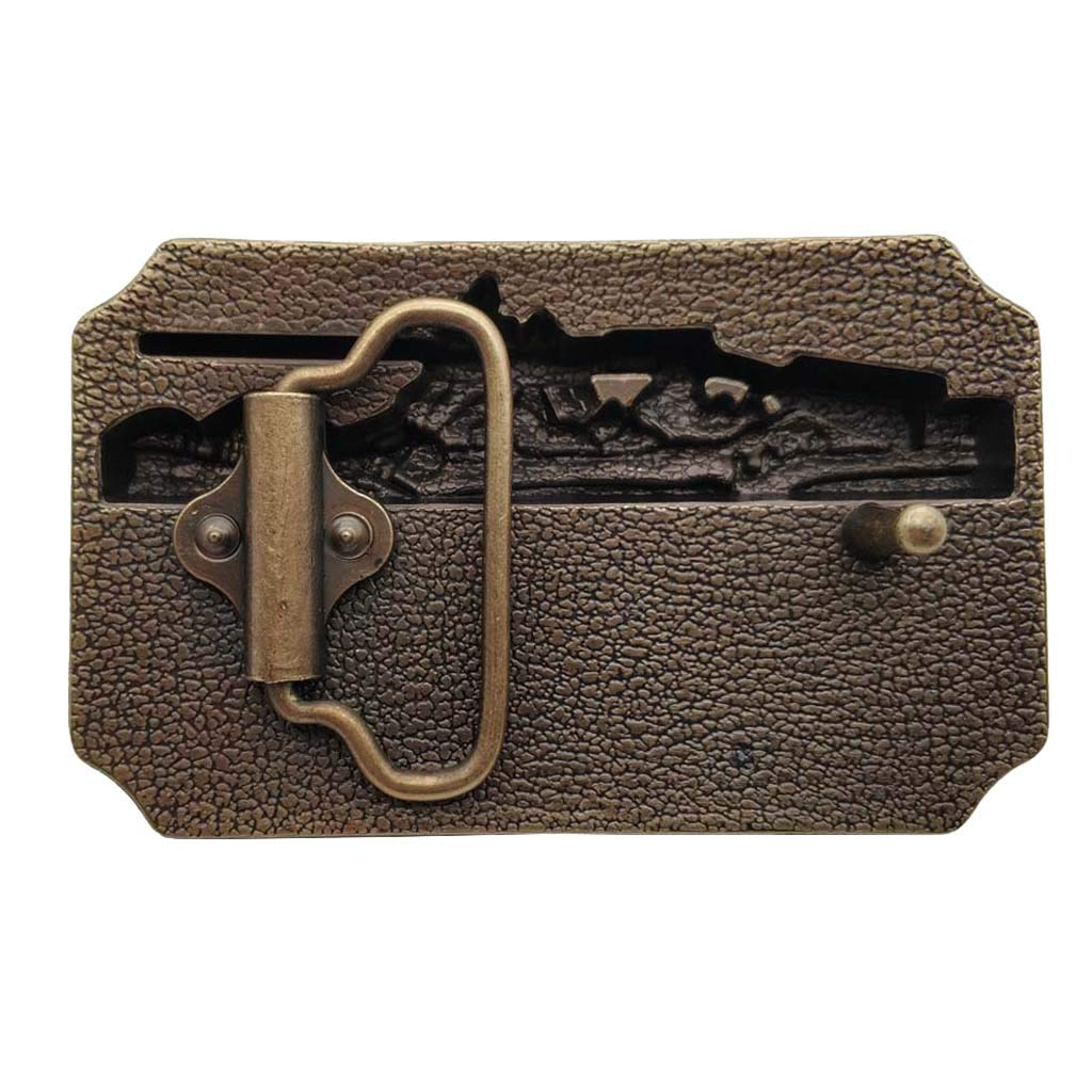 Fibbia per Cinture Browning 3d Finest in the Field Rifle Brass Color Belt Buckle