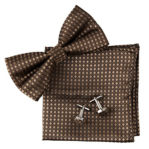 Checkered Bowtie Silk Pre-tied Bowtie Cufflinks Hanky Handmade Gifts Ideas Mens ()