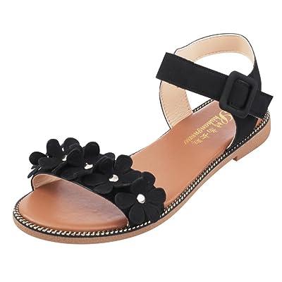 Angelof Sandales Femmes, Sandales de Plage Femmes Plates Pantoufles BohèMe Fleur Simple Chaussure Compensees Été Sandales Avec Fleurs Escarpins