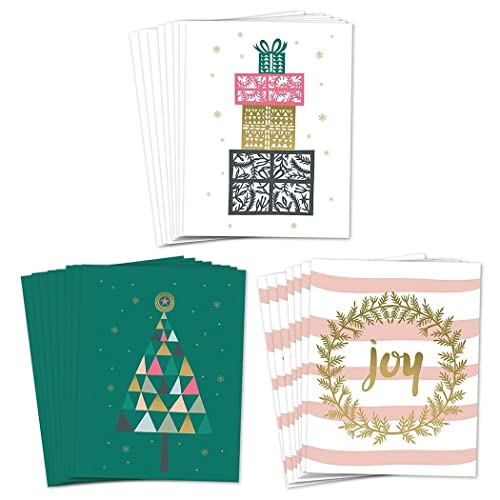 Amazon assortment 24 holiday greeting cards 3 assorted elegant assortment 24 holiday greeting cards 3 assorted elegant christmas designs set envelopes included m4hsunfo