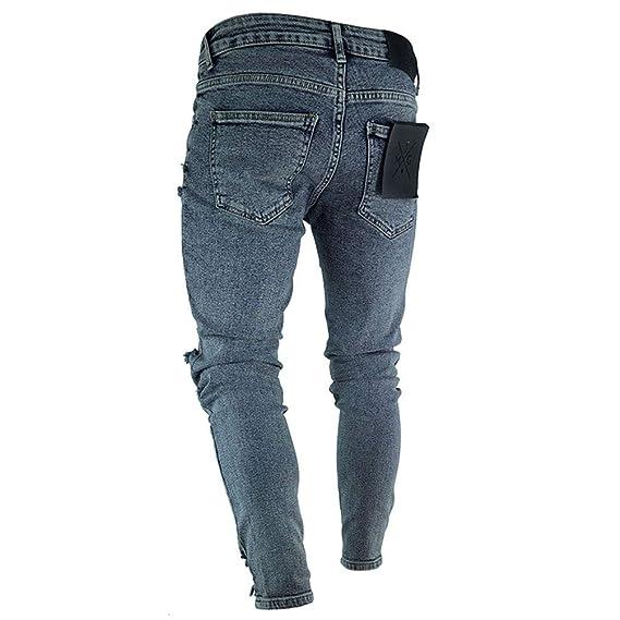 8d5d80b7da7a4 WanYangg Homme Skinny Jeans Vintage Patch Badge Effet Déchiré Elastique  Denim Pantalons Mode Décontractée Slim Délavé Slim Genou Troué Jean Stretch  Trousers ...
