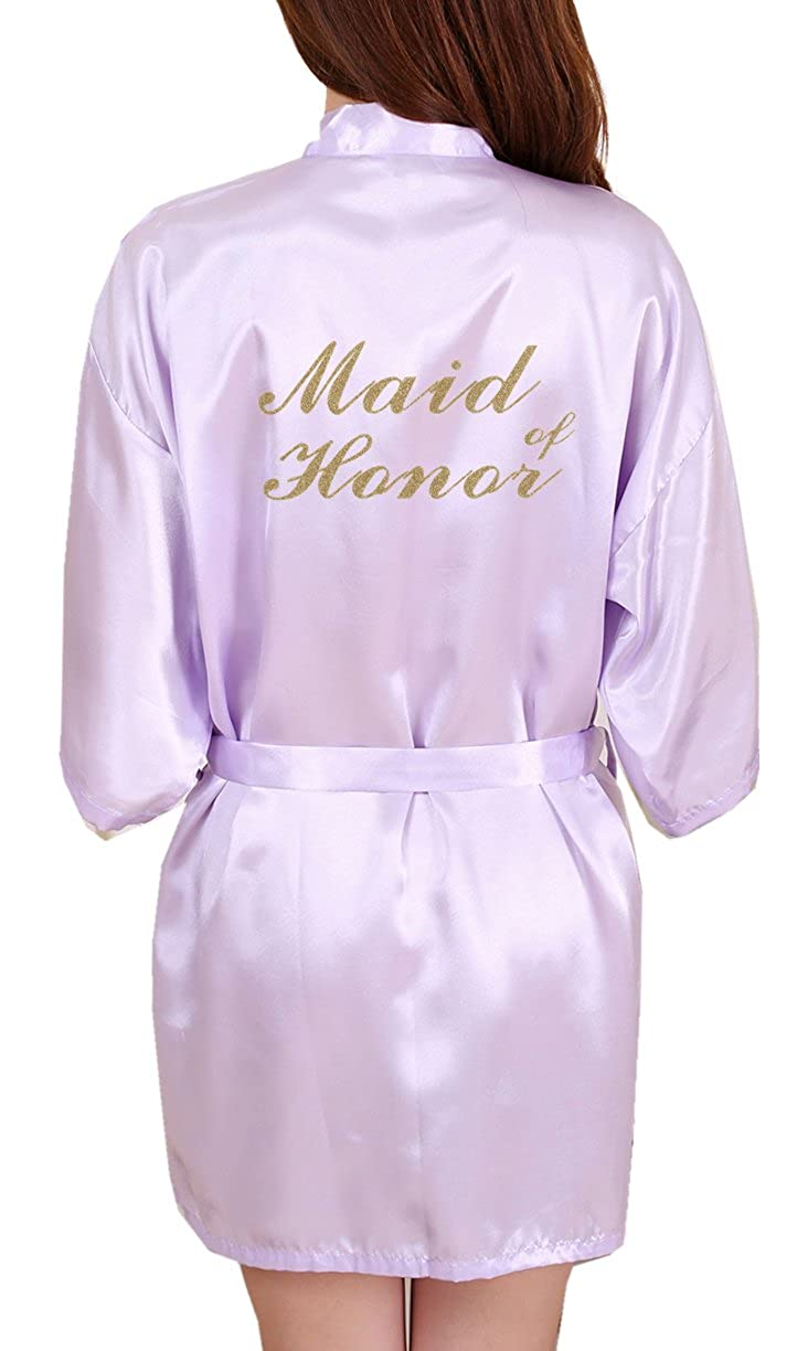 DF-deals Women's Satin Kimono Robes with Gold Glitter for Bridesmaid and Bride, Wedding Party Getting Ready Short Robe DF-DEALS-168