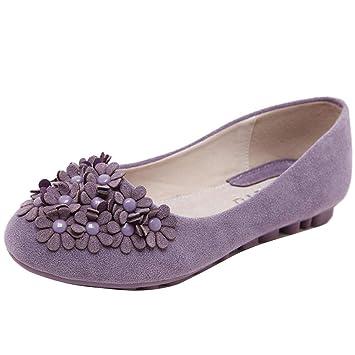 HhGold Mocasines de Flores para Mujer con Punta Redonda y Punta Redonda (Color : Púrpura, tamaño : 4 UK): Amazon.es: Hogar