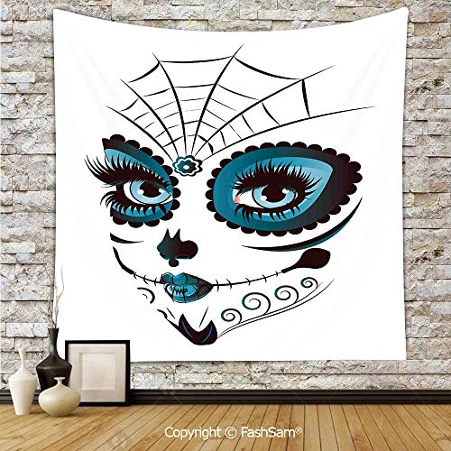 Tapestry Wall Blanket Wall Decor Graphic of Cute Dead Skull Teen Girl Face with Make Up and Ornate Design Print Home Decorations for Bedroom(W51xL59)]()