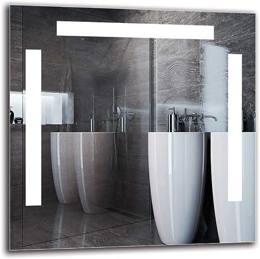 Espejo de ba/ño con iluminaci/ón LED ARTTOR M1CP-19-40x40 Blanco c/álido 3000K Espejo de Pared Espejo LED Premium Espejo con iluminaci/ón Espejo de luz Dimensiones del Espejo 40x40 cm