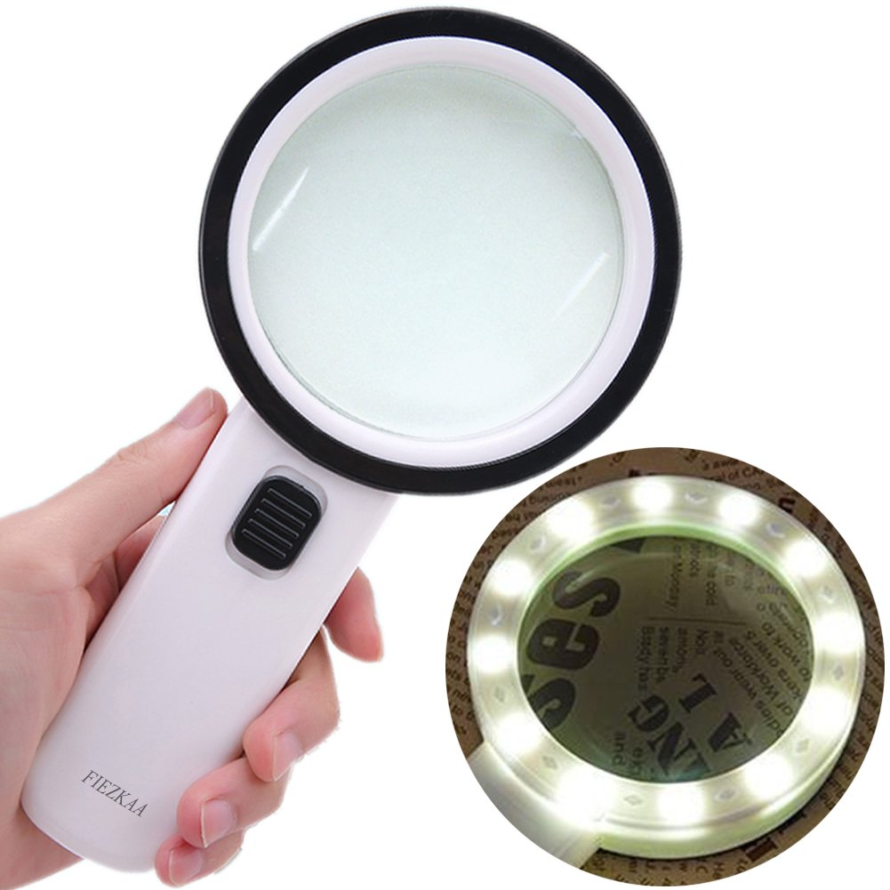fiezkaa 30X High Power Magnifying Glass Light - 12 Pcs Bright Led, Double Real Glass Lens, Large Size Handheld Illuminated Magnifier Glass Reading, Coin, Stamps, Great Macular Degeneration