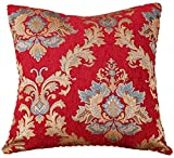 M MOCHOHOME Decorative Classical Chenille Jacquard Square Euro Throw Pillow Toss Pillow - 20'' x 20'', Red