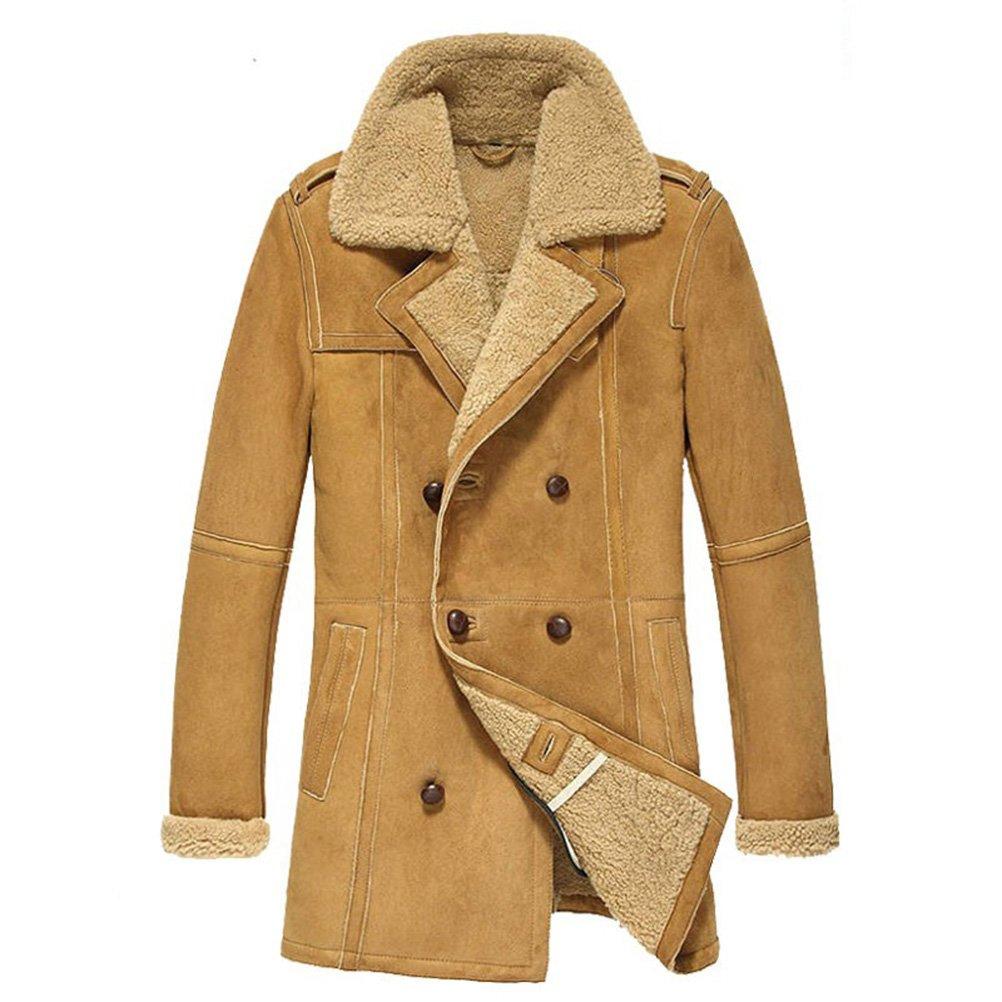 Mens Sheepskin Coat >> Cwmalls Men S Winter Shearling Sheepskin Pea Coat Cw878265