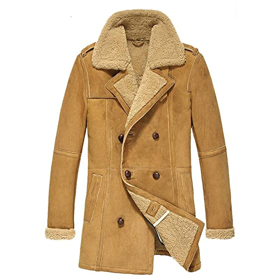CWMALLS Men's Winter Shearling Sheepskin Pea Coat cw878265 at ...