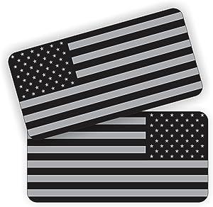Pair - American Flags Black Ops Stealthy Vinyl Decals | Stickers AR-15 AR15 Lower, Helmets, Hard Hats, Tool Box Motorcycle