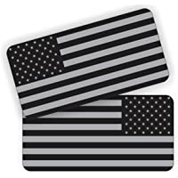 Pair - American Flags Black Ops Stealthy Vinyl Decals | Stickers AR-15 AR15 Lower, Helmets, Hard Hats, Tool Box Motorcycle