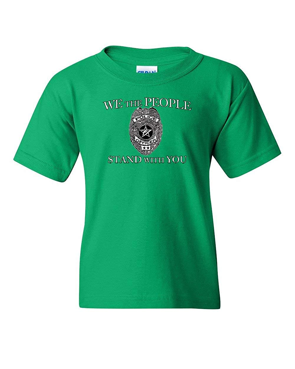 We The People Stand with You Youth T-Shirt Police Badge Cop Officer Kids Tee