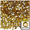 The Crafts Outlet 1440-Piece Flat Back Round Rhinestones, 3mm, Golden Yellow
