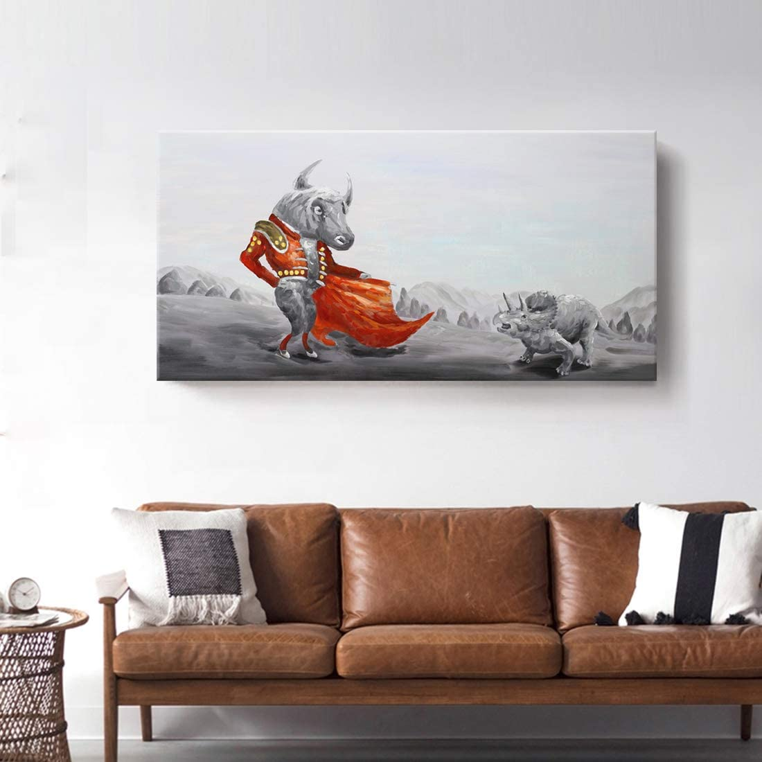 Ejart Large Wall Art Hand-Painted Bull Bullfighter with Dinosaurs Triceratops Painting on Canvas Prints Framed Animal Artwork for Home Decoration Kids Room Boys Room Bed Room Living Room Red Gray