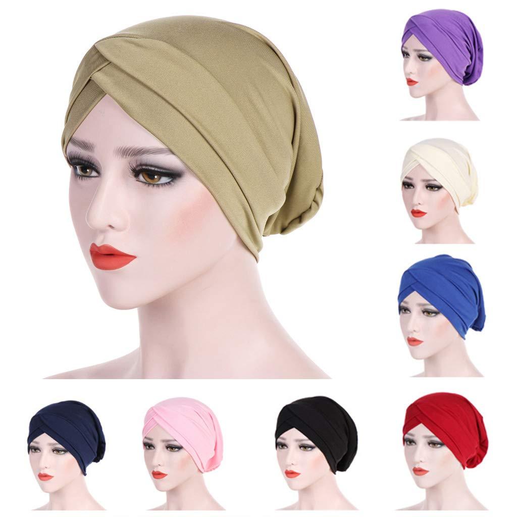 ZOOMY Donna Turbante in Fibra di Latte con Cappuccio in Tinta Unita con Ricamo a Testa Alta Musulmana e Cappello Hijab chemio Nero