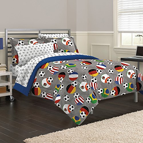7 Piece Kids Grey Soccer Themed Comforter Full Set, International Football Bedding Soccerball Sports USA Brazil Germany Mexico France Athletic Red Yellow Green, Reversible Solid Blue Polyester Cotton by CA