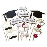 BESTOYARD 17pcs Graduation Photo Props Graduation Phtoto Booth Props 2017 Graduation Party Decorations