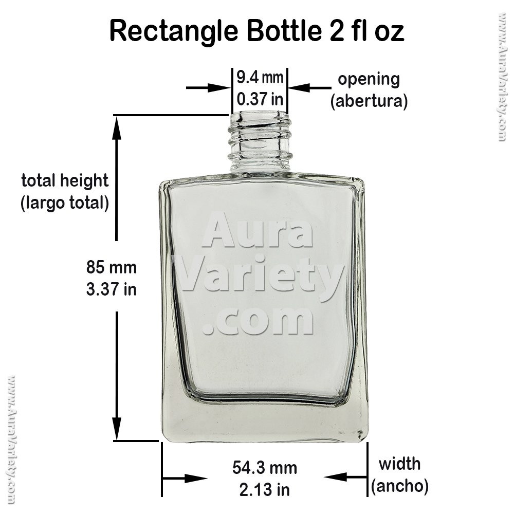 72 PIECES 2 OZ 60 ml RECTANGULAR REFILLABLE CLEAR GLASS BOTTLE WITH BLACK CAP (PERFUMES, OILS, AROMATIC BLENDS, BATH AND BODY) by AURA VARIETY (Image #3)