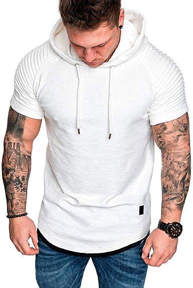 ESAILQ Camisa con Capucha para Hombre, Manga Corta, Slim Fit, Color Sólido, Camisa Elástica Casual/Formal para Hombre: Amazon.es: Ropa y accesorios