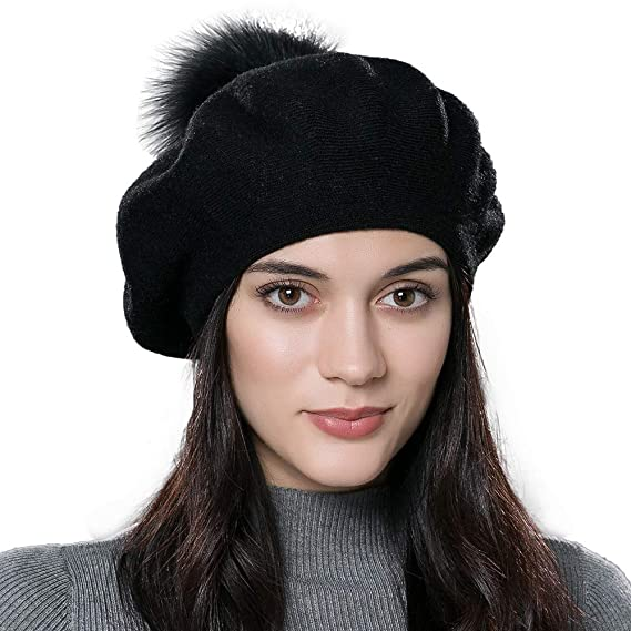 Women Winter French Beret Hats Real Fur Pom Pom Wool Warm Berets Soft Lightweigh