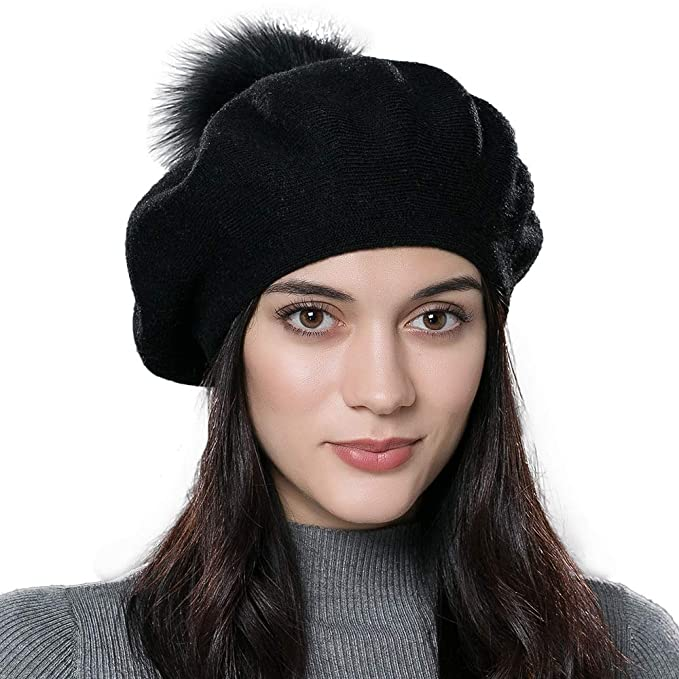 9186fe0b Image Unavailable. Image not available for. Color: Women Winter French Beret  Hats ...