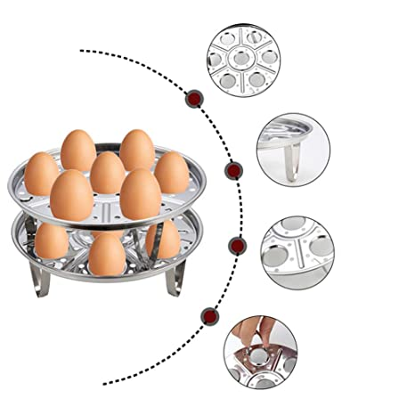 LHX Estante De Cocina Acero Inoxidable Tres Pies Multiuso Estufa De Vapor Siete Agujeros Huevo Cocido
