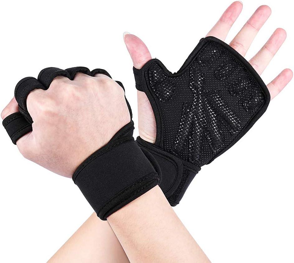 قفازات رفع الأثقال - قفازات التمرين للرجال والنساء مع أغطية المعصم - حماية كاملة لراحة اليد ومقبض إضافي - لصالة الألعاب الرياضية، والسحب، واللياقة البدنية، ورفع الأثقال (أسود)