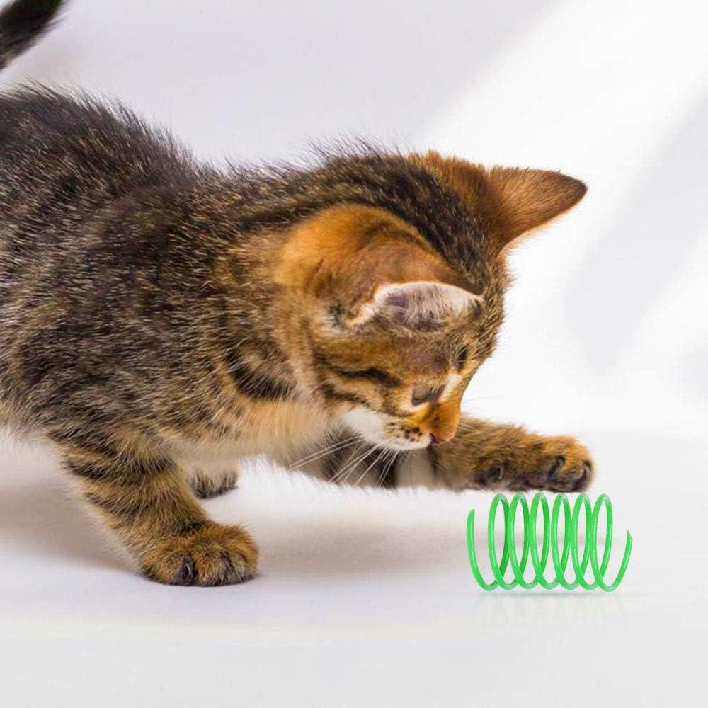 Juego Activo Juguete Gato Interactivo 12Pzs Muelles en Espiral de Bobina con 2Pzs de Bolas de Pompones Rascantes para Golpear Morder Color Aleatorio MA Keleily Muelles para Gatos Juguete Cazar