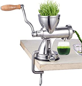 Juicer,Portable Juicer, Heavy Wheatgrass Duty Stainless Steel Leafy Green Juicer DIY Extractor Tool Easy to Operate Commercial and Household, Silver