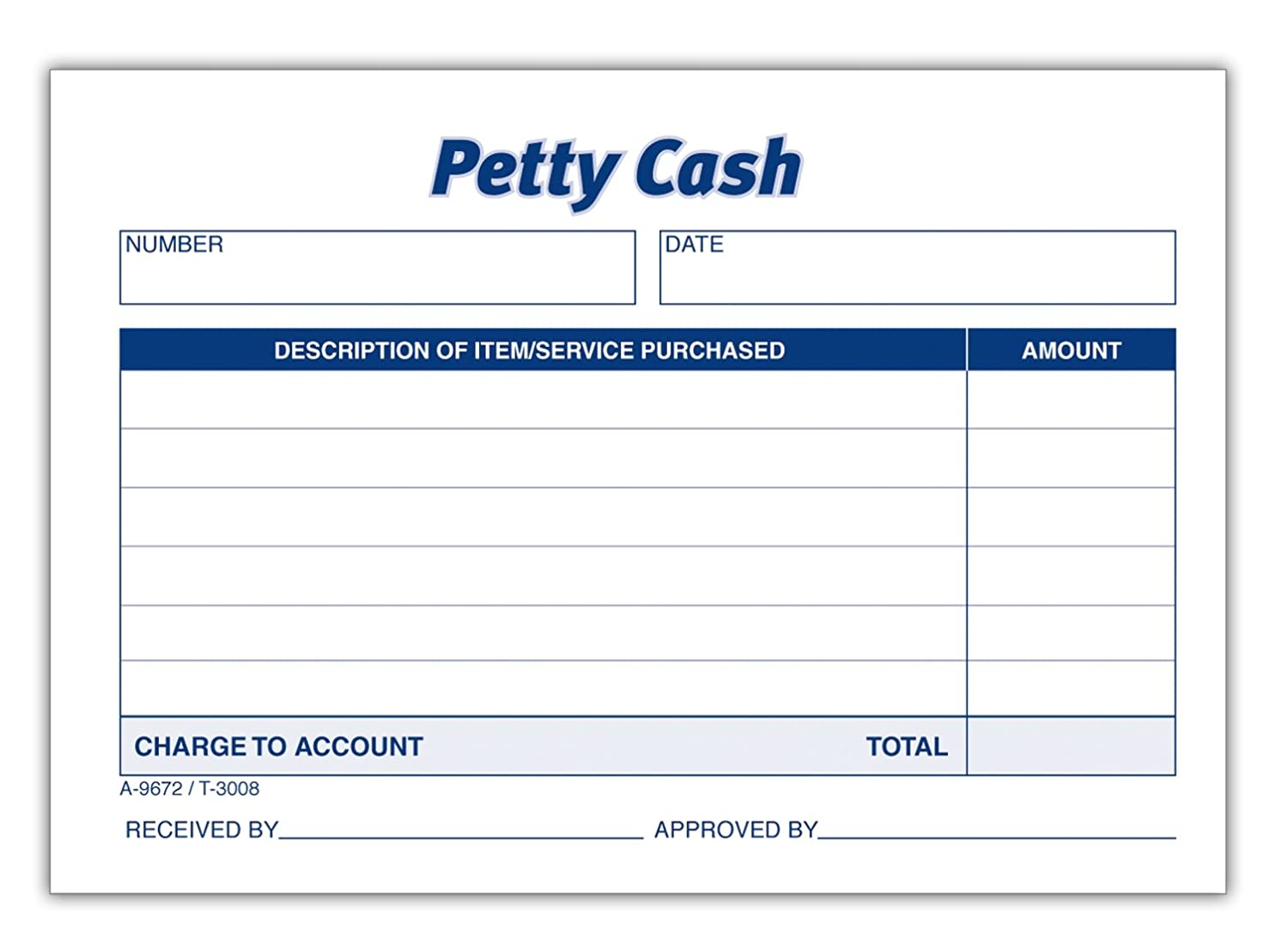 Amazon.com : Adams Petty Cash Receipt Pad, 5 X 3 1/2 Inches, 50 Sheets Per  Pad, Pack Of 12 Pads (9672ABF) : Blank Receipt Forms : Office Products  Petty Cash Receipt Sample