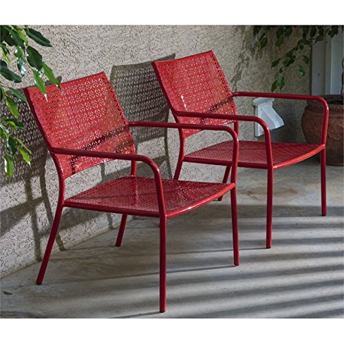 (Alfresco Home Martini Low Profile Lounge Chairs in Cherry Pie Finish, Set of 2)