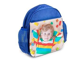 Mochila Infantil Azul Personalizada con tu Foto o Texto para el Cole o la merienda 7,5 cm x 23 cm x 25 cm: Amazon.es: Equipaje