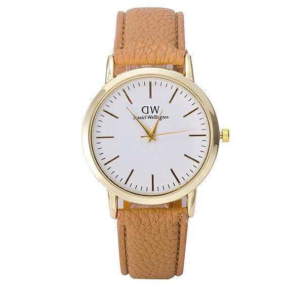Marca al por mayor de Compra Relojes de cuarzo 2015 Mejor Top descuento grande Dw para mujer los hombres de la moda de cuero de la correa Q: Amazon.es: ...