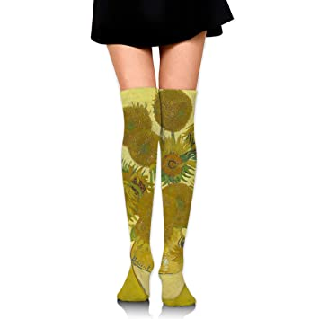 suzhouxiu Van Gogh Sunflowers Womens Knee High Socks Long Socks Sport Socks Thin For Running,Medical,Athletic,Travel: Amazon.es: Deportes y aire libre