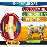 Extra Strength Chewable Joint Supplement For Dogs 120 Bacon Flavored Tablets with 500mg Glucosamine 400mg Chondroitin 166mg Vitamin C Improve Comfort Joint Flexibility Reduce Joint Pain Made In USA