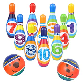 10 Skittles 2 Balls Bowling Set Indoor Outdoor Garden Lawn Party Game Toy Kids