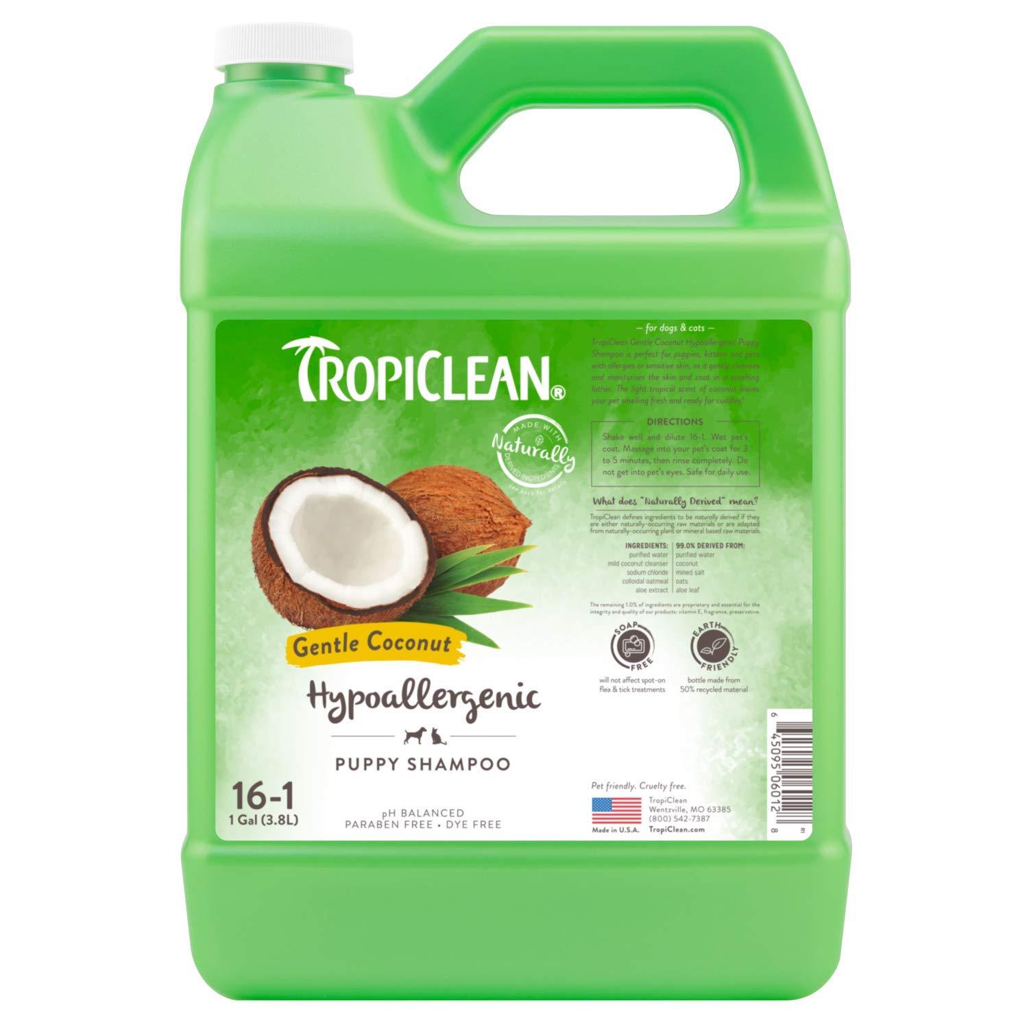 TropiClean Gentle Coconut Hypoallergenic Puppy Shampoo, 1 Gallon