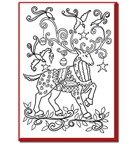Amazon.com : Christmas Cards for Coloring by Adults and ...