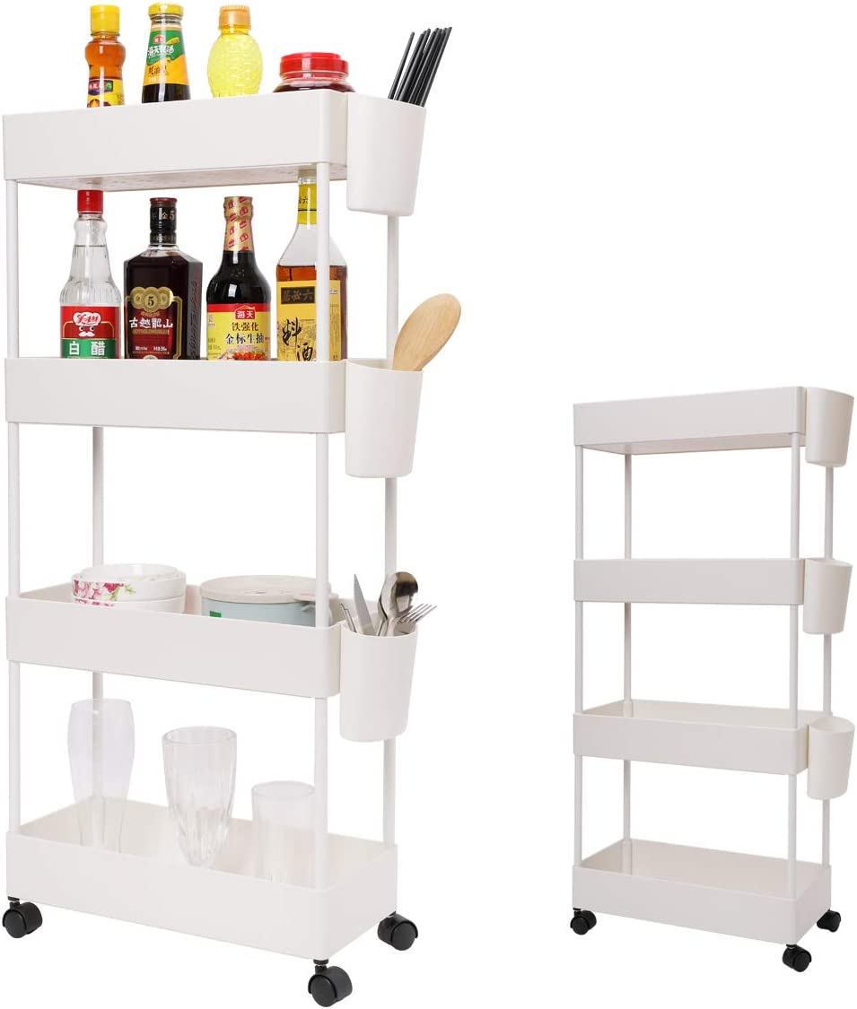 4-Tier Slim Rolling Utility Cart Storage Shelves Trolley Storage Organizer Shelving Rack with Mesh Baskets/Wheel Casters for Laundry Pantry Bathroom Kitchen Office Narrow Places