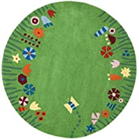 Safavieh Safavieh Kids Collection SFK751A Handmade Green and Multi Cotton Round Area Rug (4 Diameter)