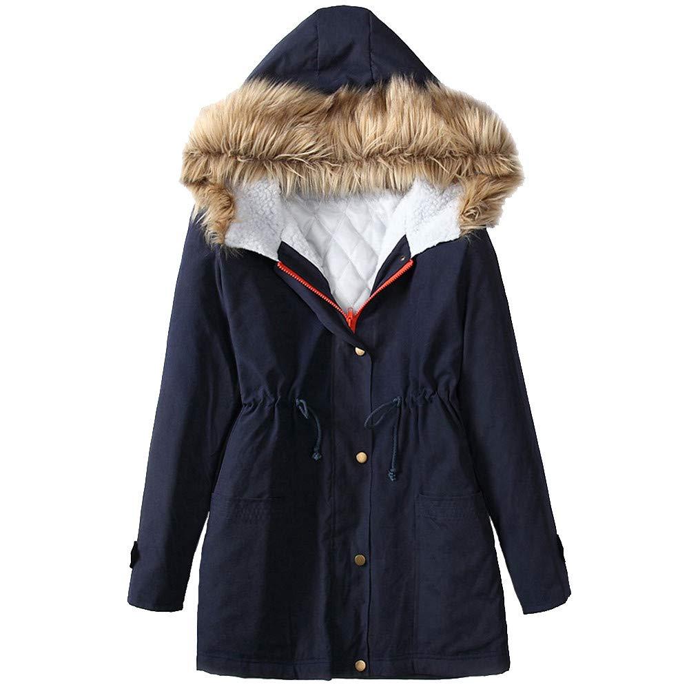 BODOAO Women Winter Hooded Warm Thick Long Coat Jacket Fur Parka Overcoat Down Coat
