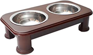 PawRidge Premium Elevated Pet Feeder Luxury Solid Wood Stand & 2 Food Grade Stainless Steel Bowls - Improves Your Pet's Digestion - Suitable for Small/Medium Dogs & Cats