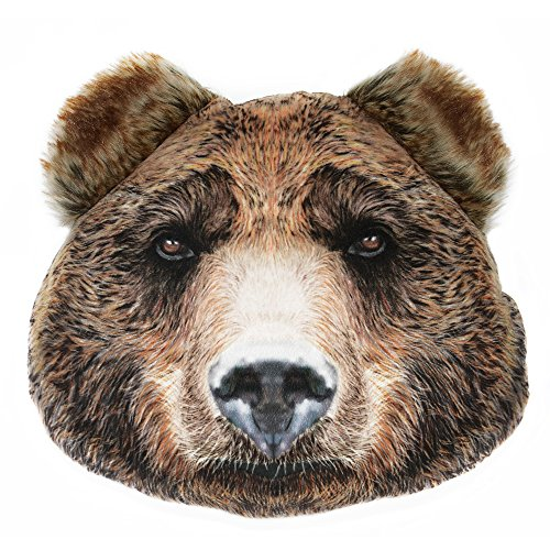 JWH 3D Animal Cushion Vivid Accent Pillows Decorative Stuffed Plush Children Gifts Home Bed Living Room Toy 12 x 10 Inch Bear Head ()