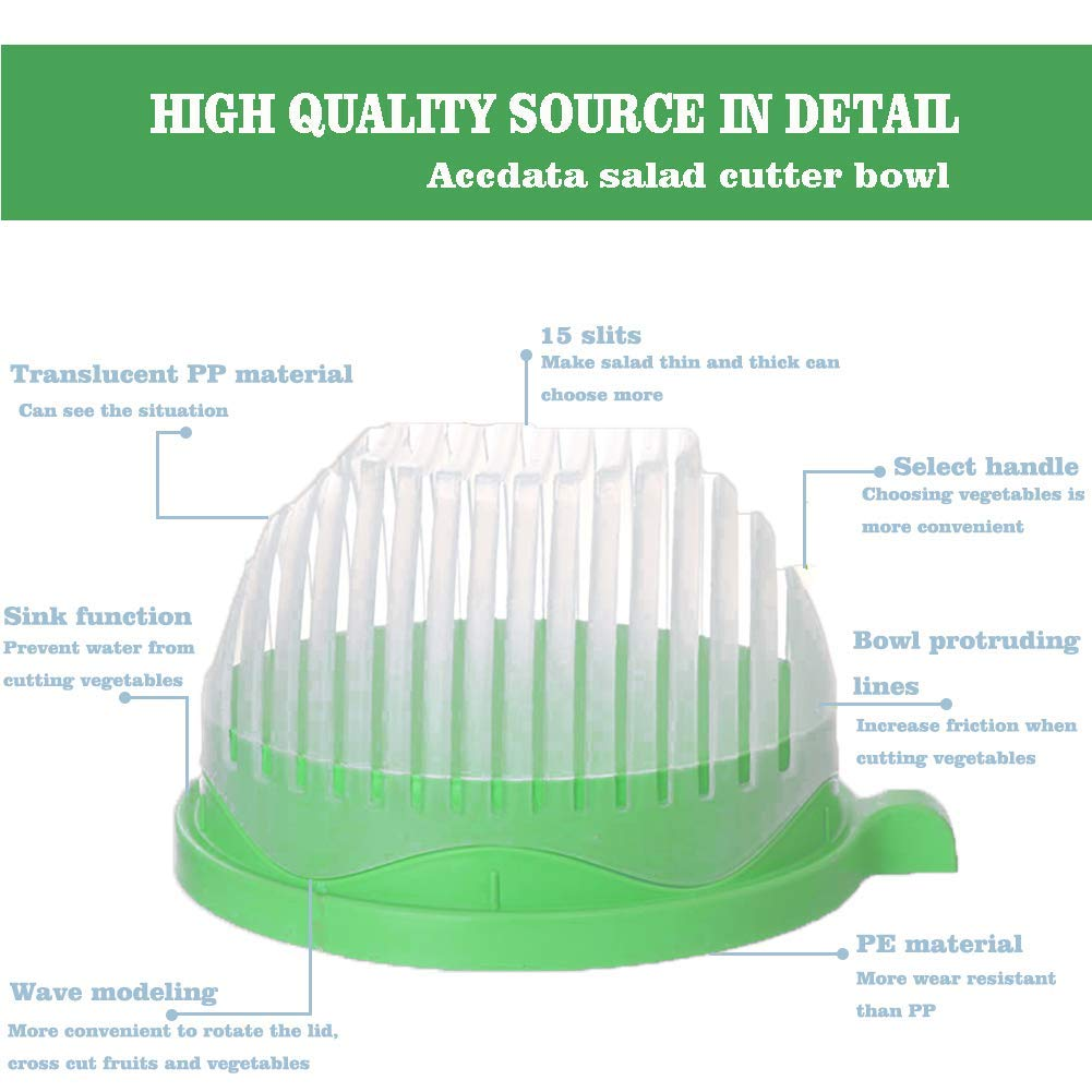Salad Cutter Bowl 60 Seconds Easy Fresh Salad Cutter and Fast Fruit Vegetable Chopper Salad Maker by Accdata [Bonus Multi-Function Paring Knife] by Accdata (Image #3)