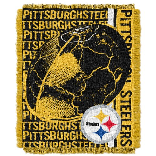 The Northwest Company Officially Licensed NFL Pittsburgh Steelers Double Play Jacquard Throw Blanket, 48