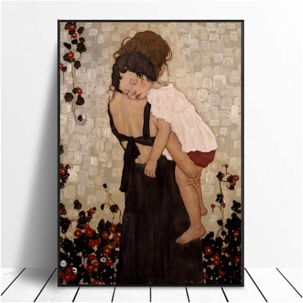 chtshjdtb Gustav Klimt Poster Eine Mutter h/ält EIN Kind Gem/älde auf Leinwand f/ür Wohnzimmer Home Decor Leinwand Gem/älde 60x80cm No Frame