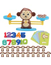 Kylewo Apprentissage des mathématiques Jeu Monkey Math - Education Enfants Cadeaux et Jouets pour Enfants Apprentissage STEM, à partir de 3 Ans (Ensemble de 65 pièces)
