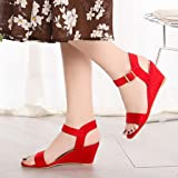 Women Solid Wedges Heel Sandals, NDGDA Buckle Strap Roman Shoes Sandals Red